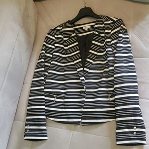 Black/White stripped blazer with silver accents